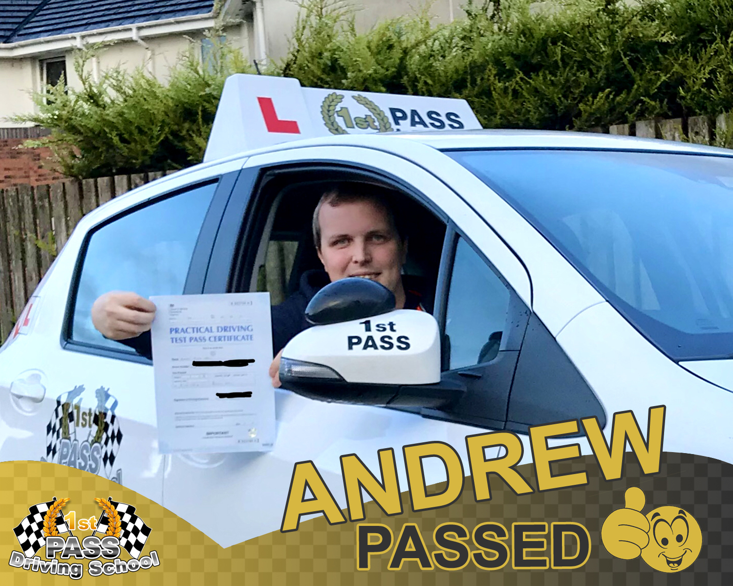 Andrew - took driving lessons with 1st Pass Driving School – Renfrewshire's Automatic Driving School