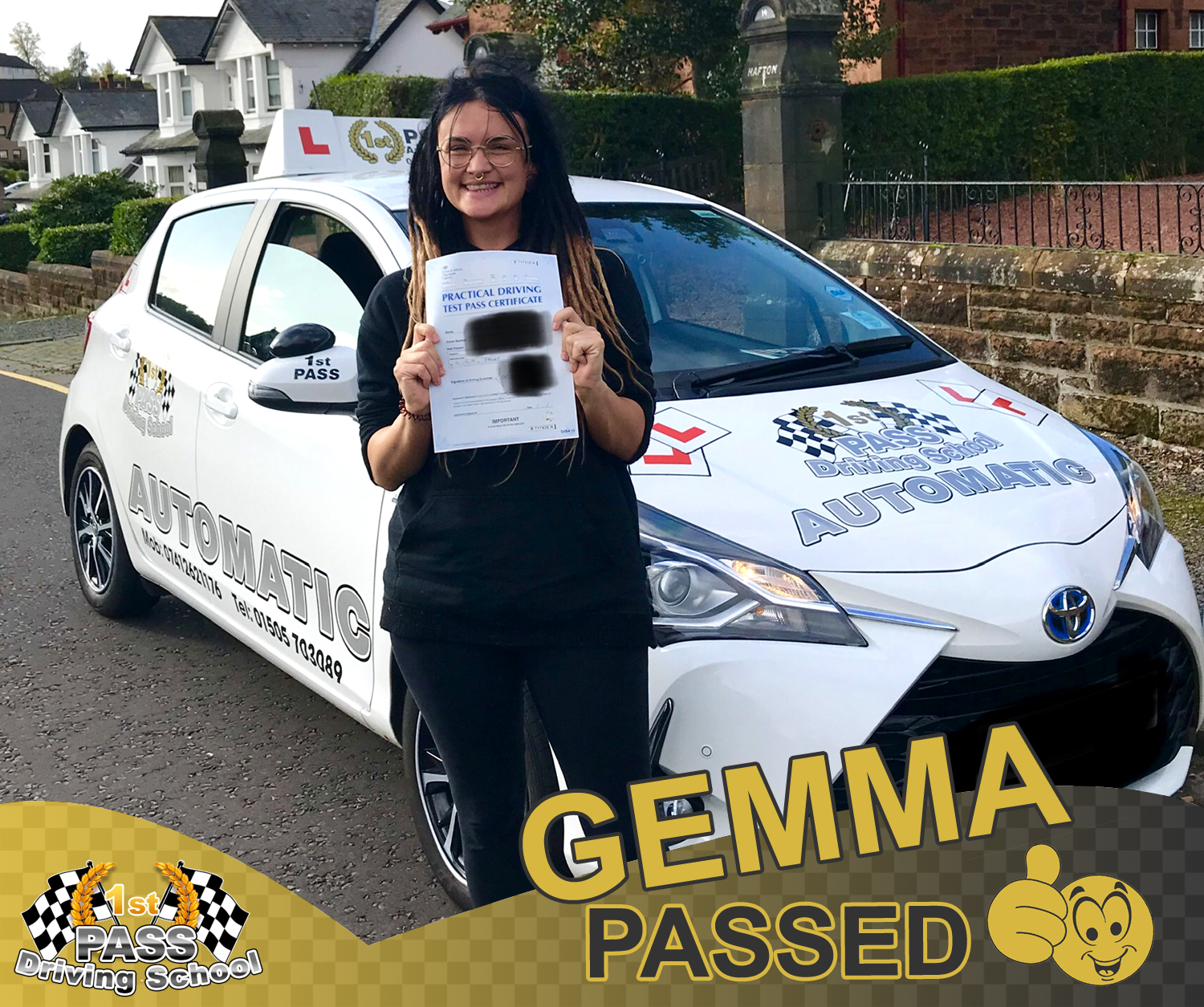 Gemma - took driving lessons with 1st Pass Driving School – Renfrewshire's Automatic Driving School