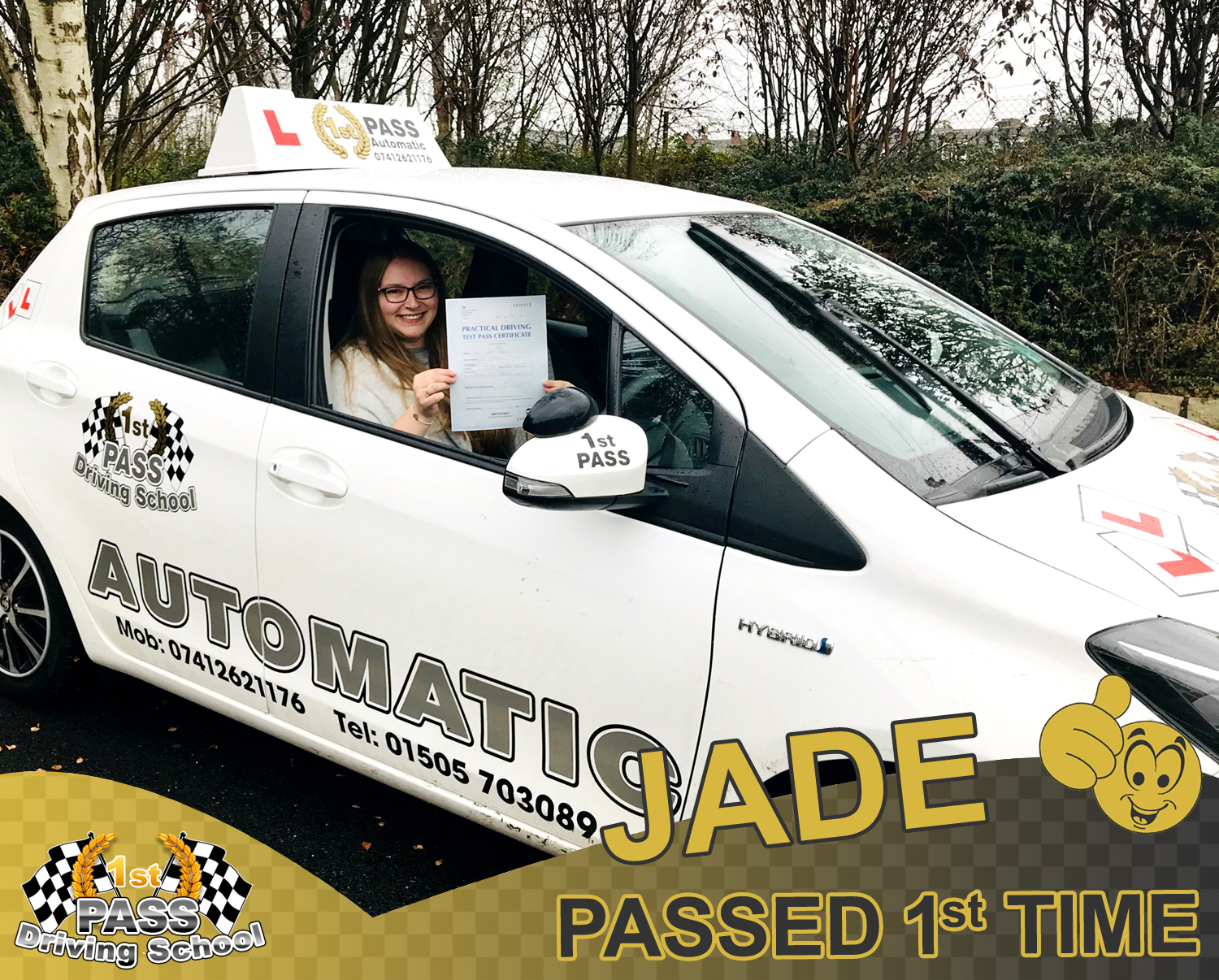 Jade - took driving lessons with 1st Pass Driving School – Renfrewshire's Automatic Driving School