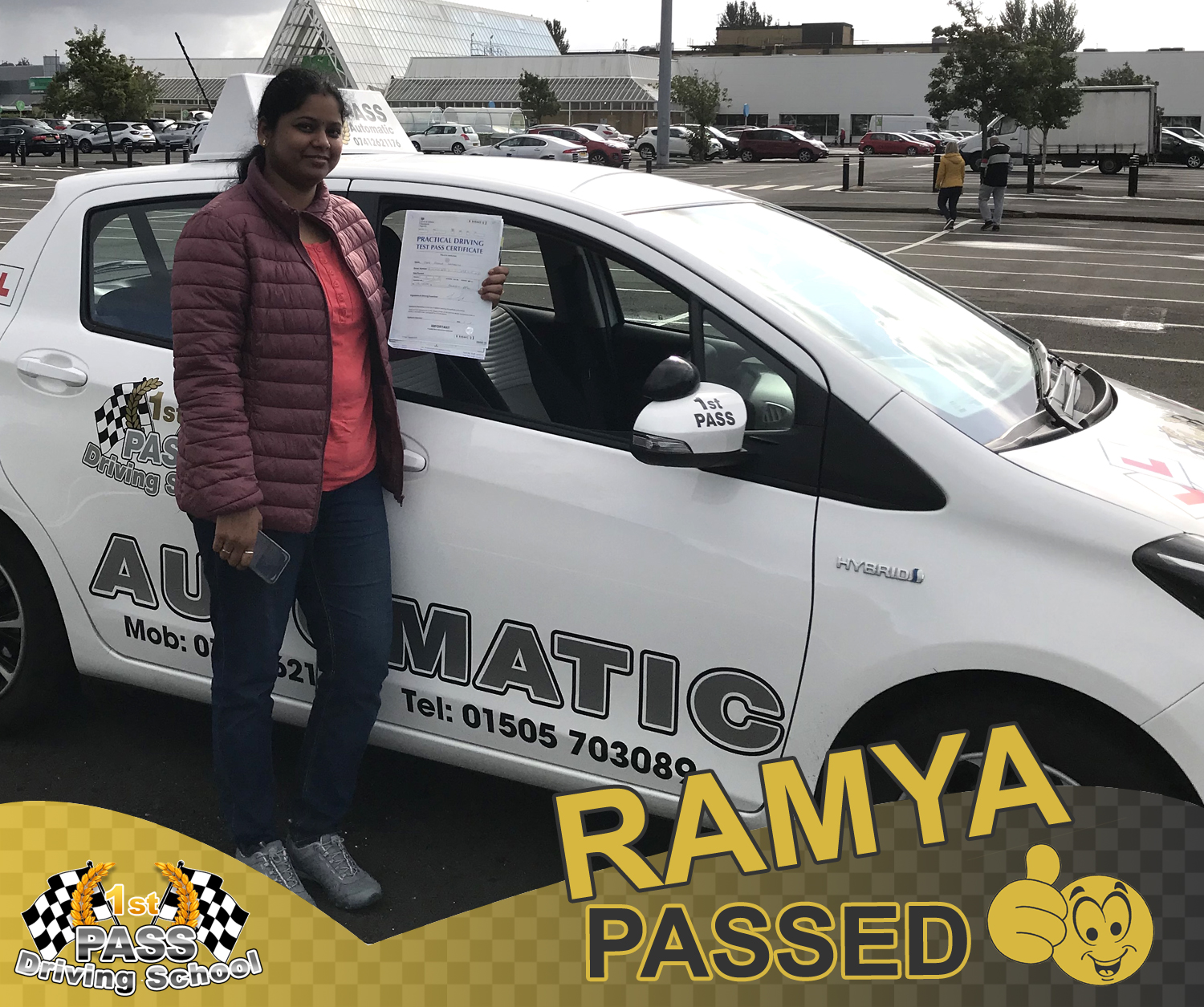 Ramya - took driving lessons with 1st Pass Driving School – Renfrewshire's Automatic Driving School