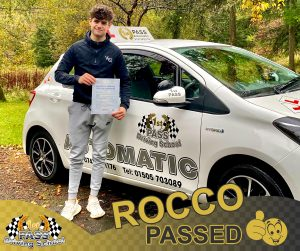Rocco Passed with 1st Pass Driving School Renfrewshire